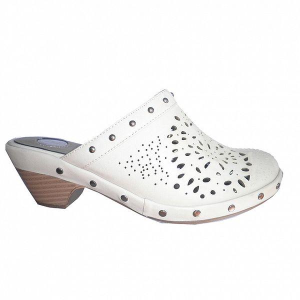 Dámske ľadovo biele perforované papuče Vanelli
