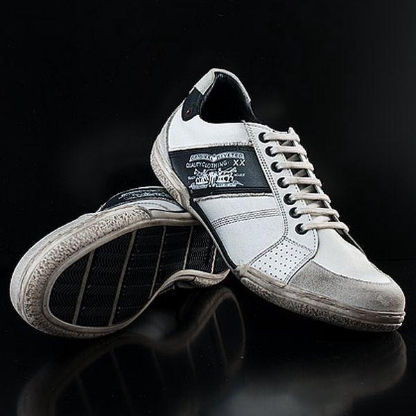 Pánské stylové bílo-černé boty
