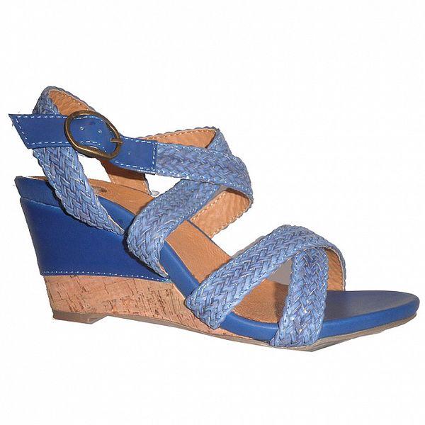 Dámské modré sandálky s pletenými pásky Vanelli
