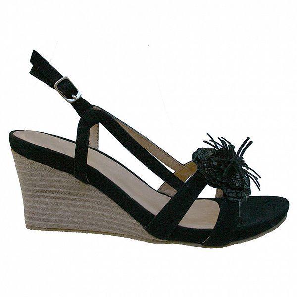 Dámske čierne sandálky s kvetinovým ornamentom Vanelli