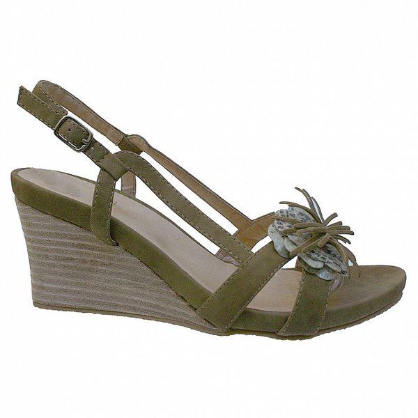 Dámské tabákové sandálky s květinovým ornamentem Vanelli