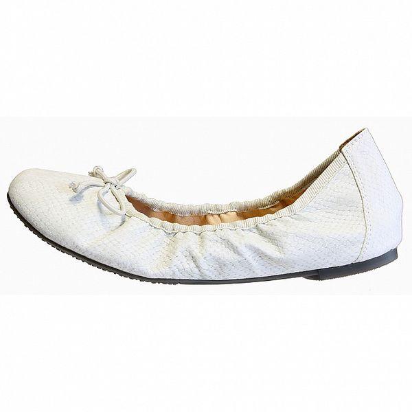Dámske biele baleríny s hadím vzorom Vanelli
