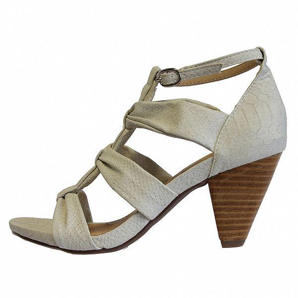 Dámske biele sandále s hadím vzorom Vanelli