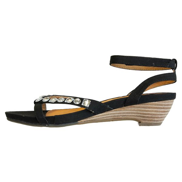 Dámské černé sandálky s bílými krystaly Vanelli