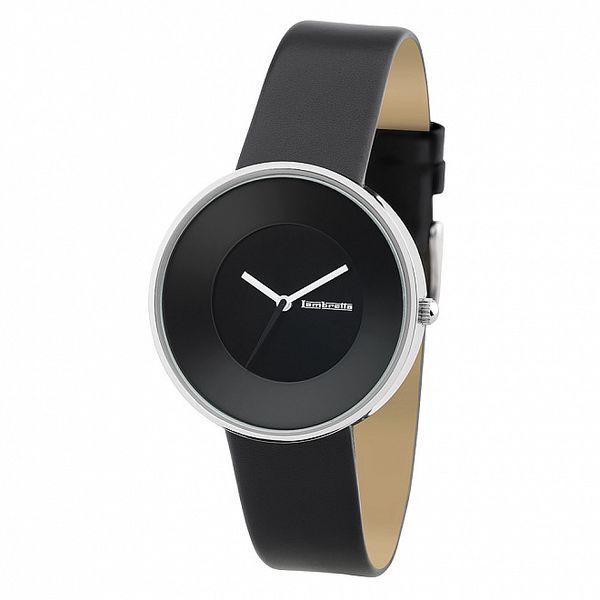 Čierne hodinky s koženým remienkom Lambretta
