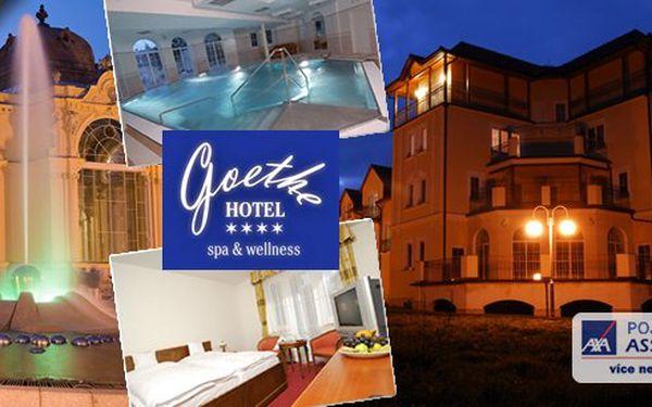 Lázeňský wellness pobyt pro dvě osoby v luxusním wellness hotelu Goethe**** s polopenzí. Až 10 wellness procedur! Užijte si nádherné prostředí Slavkovského lesa a bezprostřední blízkost Mariánských Lázní!