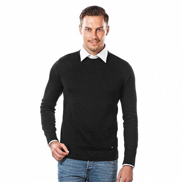 Pánsky čierny sveter s okrúhlym výstrihom Vincenzo Boretti