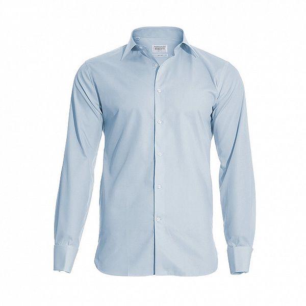 Pánská slim-fit košile na manžetové knoflíčky Vincenzo Boretti ve světle modré barvě
