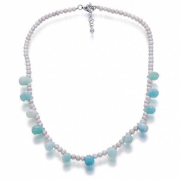 Dámský náhrdelník se stříbrnými perlami a amazonitem Orchira