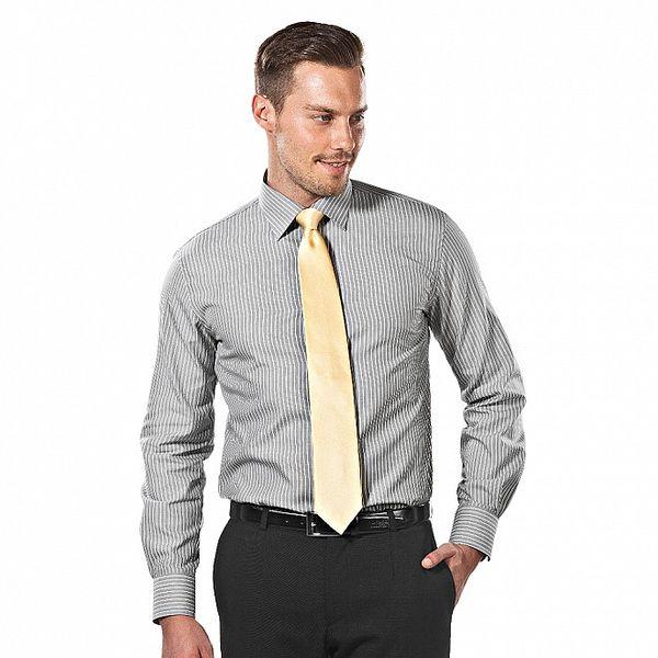 Pánská šedo-bílá pruhovaná regular fit košile Vincenzo Boretti