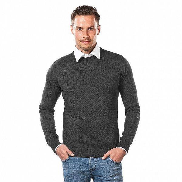 Pánský antracitový svetr s kulatým výstřihem Vincenzo Boretti