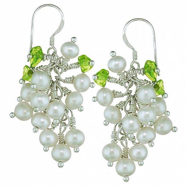 Dámské perlové náušnice Orchira s peridotem