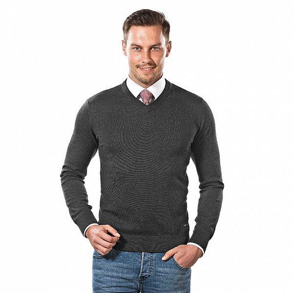 Pánský antracitový svetr s véčkovým výstřihem Vincenzo Boretti