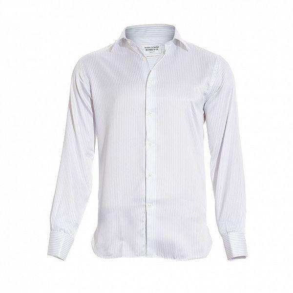 Pánská slim-fit košile na manžetové knoflíčky Vincenzo Boretti v bílé barvě s jemným tmavě modrým proužkem