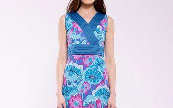 Dámske modro-fuchsiové kvetinové šaty Almatrichi