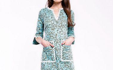 Dámske modré šaty Almatrichi s kvetinovým vzorom a bielimi lemami