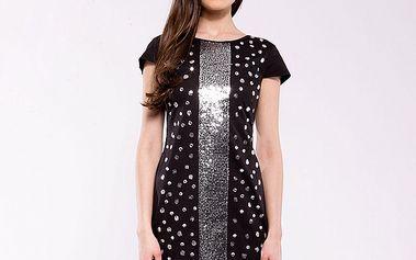 Dámske čierno-strieborné spoločenské šaty Almatrichi