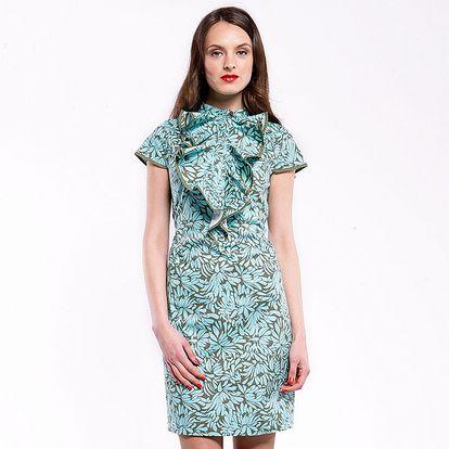 Dámske zeleno-modré šaty Almatrichi s kvetinovou potlačou a volánom