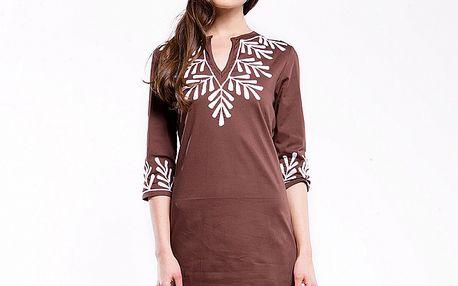 Dámské hnědé šaty s bílým potiskem Almatrichi
