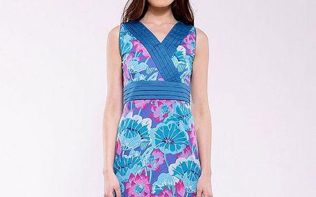 Dámské modro-fuchsiové květinové šaty Almatrichi