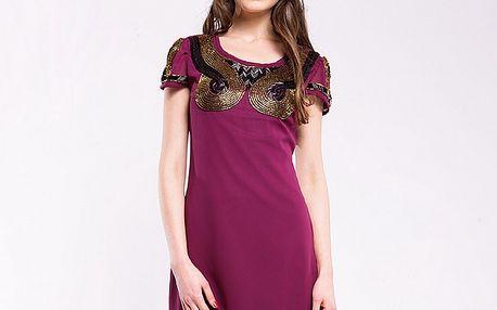 Dámske burgundské šaty s korálikovými aplikaciami Almatrichi