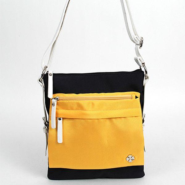 Oranžovo-černá hranatá kabelka