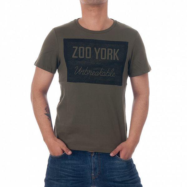 Pánské olivově zelené tričko Zoo York s černým potiskem