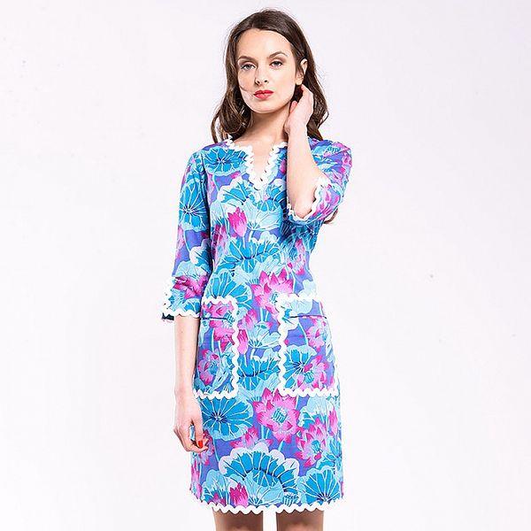 Dámske tyrkysovo-rúžové šaty Almatrichi s bielimi lemami