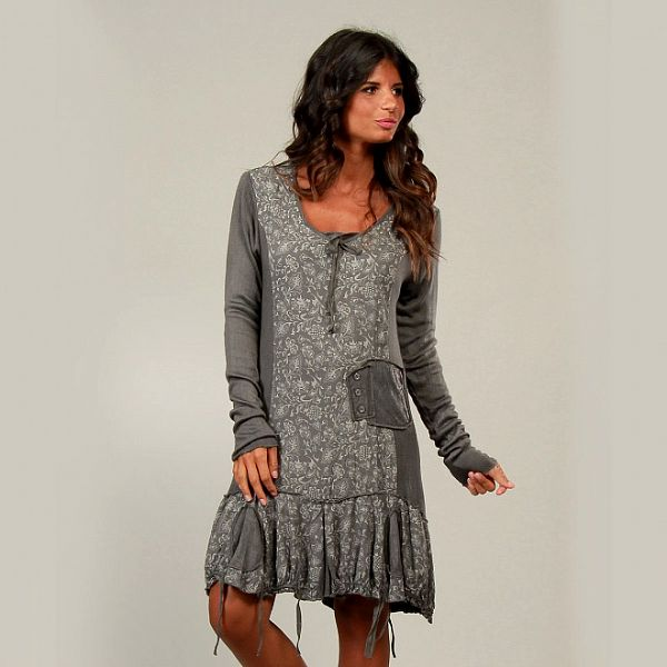 Dámske šedivé šaty La Belle Francaise so strapcami