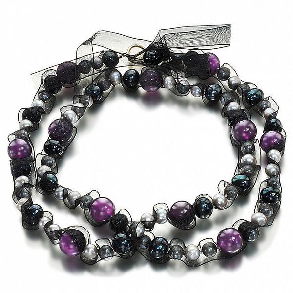 Dámsky strieborno-čierny náhrdelník s perlami Orchira