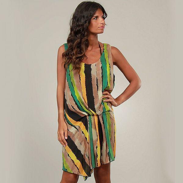 Dámske zeleno béžové pruhované šaty La Belle Francaise