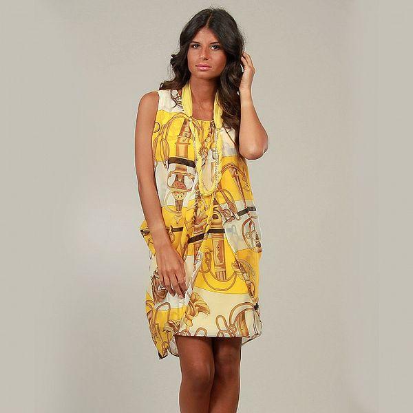 Dámské žluté šaty s jezdeckým potiskem La Belle Francaise