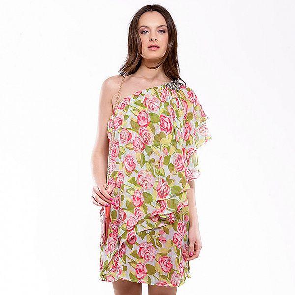 Dámske zeleno-ružové šaty s ružami Almatrichi