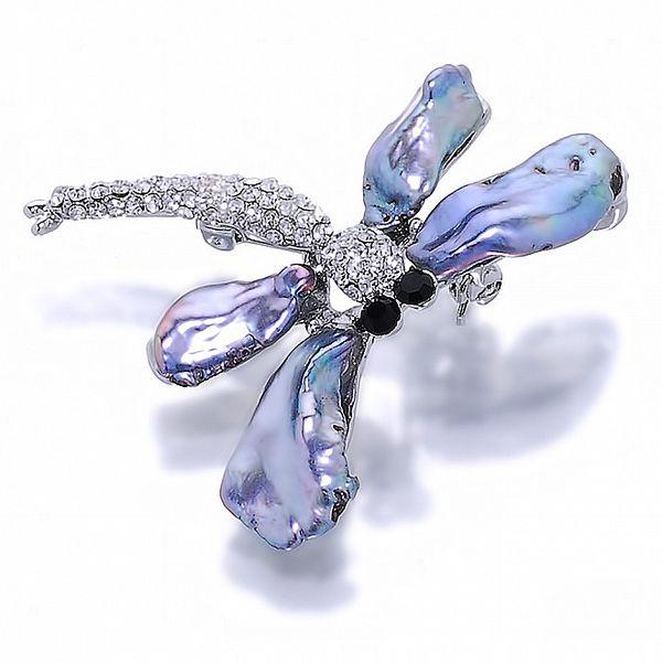 Dámska brošňa v tvare vážky Orchira s čiernymi perlami