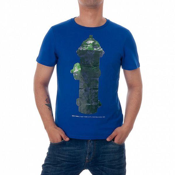 Pánské modré tričko Zoo York se zeleným hydrantem
