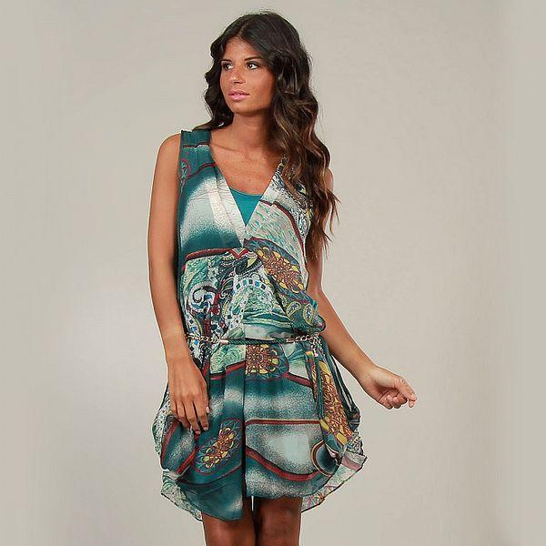 Dámské zeleno-tyrkysové šaty s potiskem a páskem La Belle Francaise