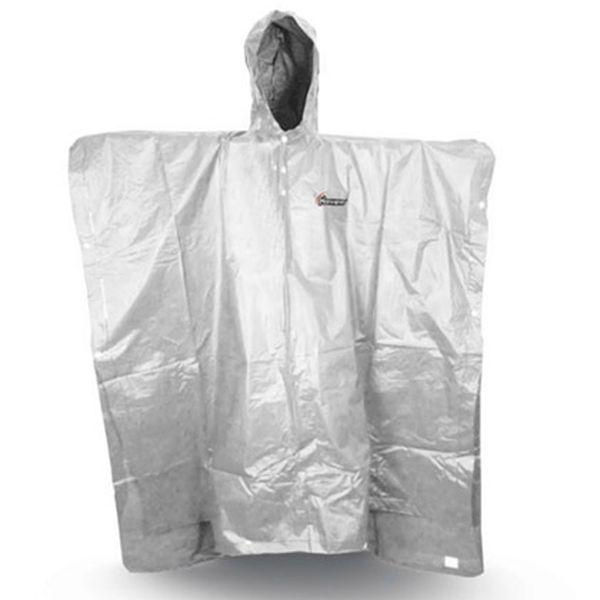 Bílé univerzální pončo do deště s kapucí