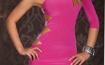 Dámské šaty s průstřihy a jedním rukávem - růžové a poštovné ZDARMA! - 161