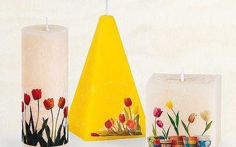 Svíčka s dekorem tulipánů - kostka