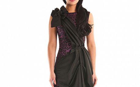 Dámské purpurové leopardí šaty Jolaby s černou légou