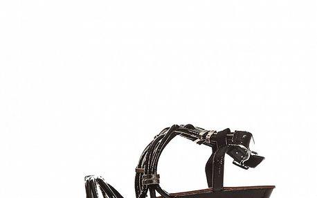 Dámské černé lakované sandálky s kovovými sponami Yook for you