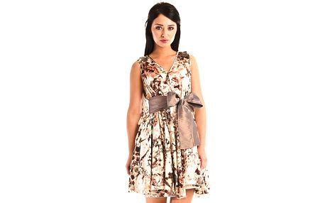 Dámské béžové šaty Jolaby se zvířecím vzorem