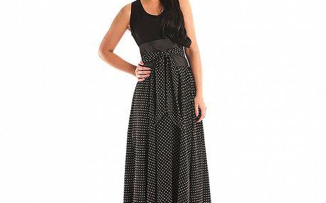 Dámské černé puntíkované maxi šaty Jolaby