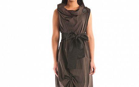 Dámské tmavě hnědé společenské šaty Jolaby s velkou černou mašlí