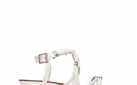 Dámské bílé sandálky s kovovými sponami Yook for you