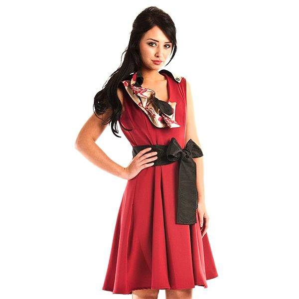 Dámske tmavo červené spoločenské šaty Jolaby s veľkou čiernou mašľou