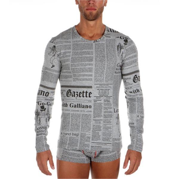 Pánské triko John Galliano šedé dlouhý rukáv