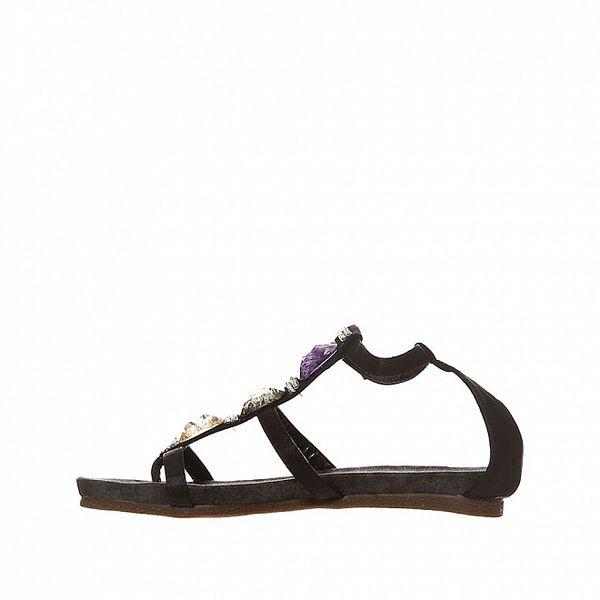 Dámské černé sandálky s barevnými kameny Yook for you
