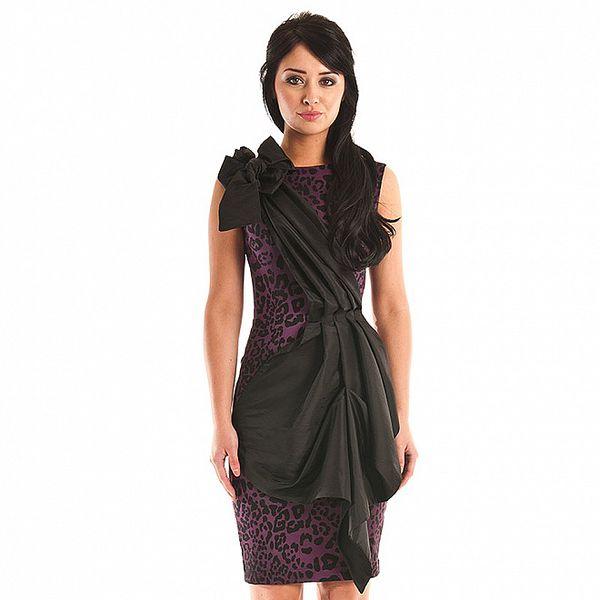 Dámske purpurové leopardie šaty Jolaby s čiernou légou
