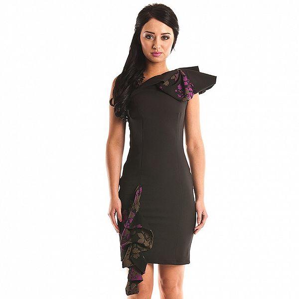 Dámske čierne púzdrové šaty Jolaby